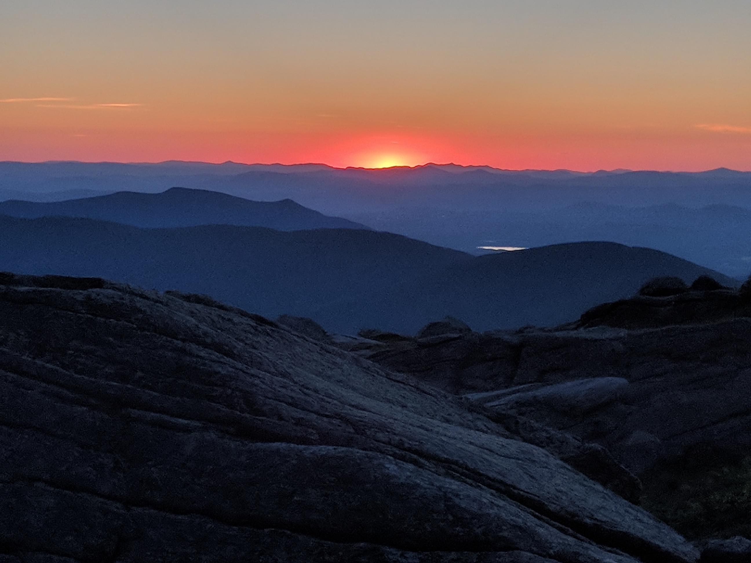 Sunset from Lakes of the Clouds hut.