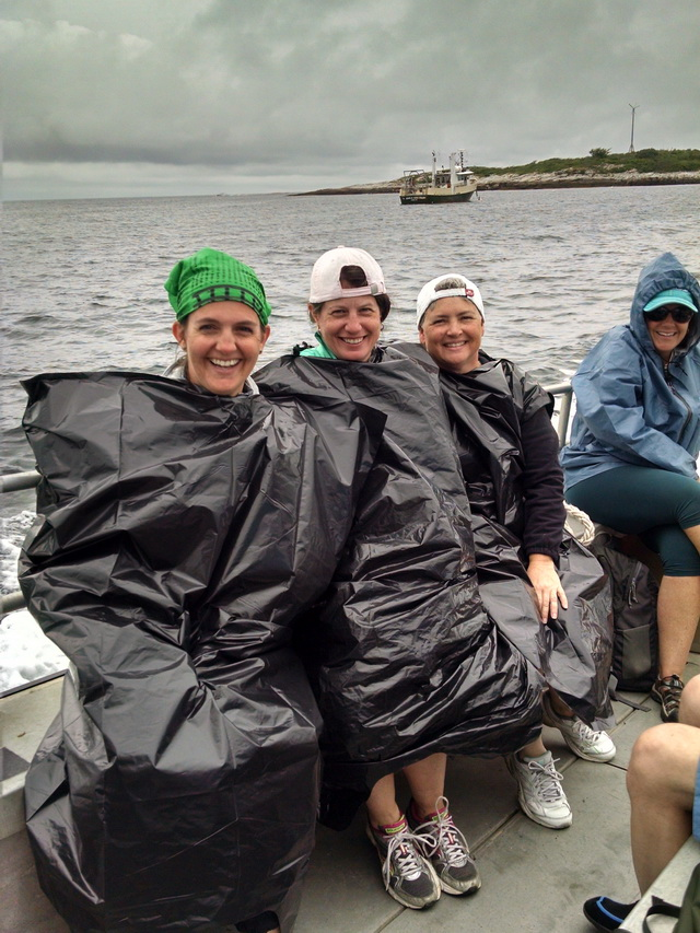 Compactor bags make great ponchos, protecting against not only rain but also lots of bird poop from angry terns.