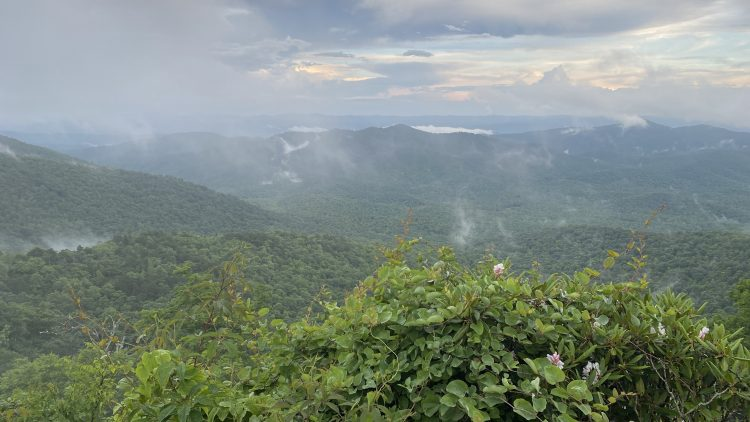 Mountains cloaked in mist