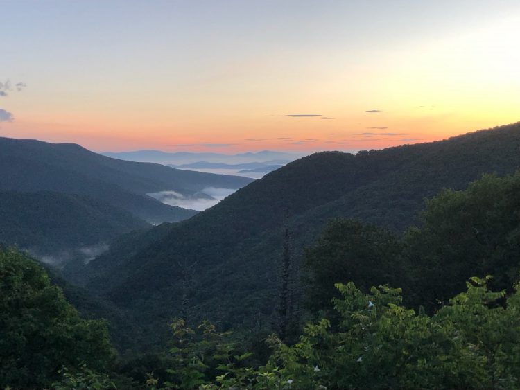 Sunrise view from the Blue Ridge Parkway near Mount Mitchell