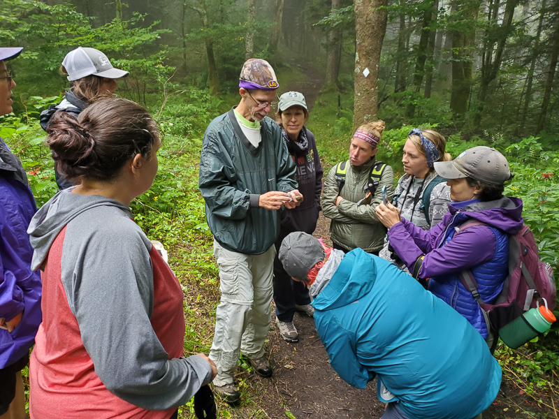 Museum ornithologist John Gerwin holds a banded Hermit Thrush while the group learns how to determine the age based on the feathers and body conditions of the bird.